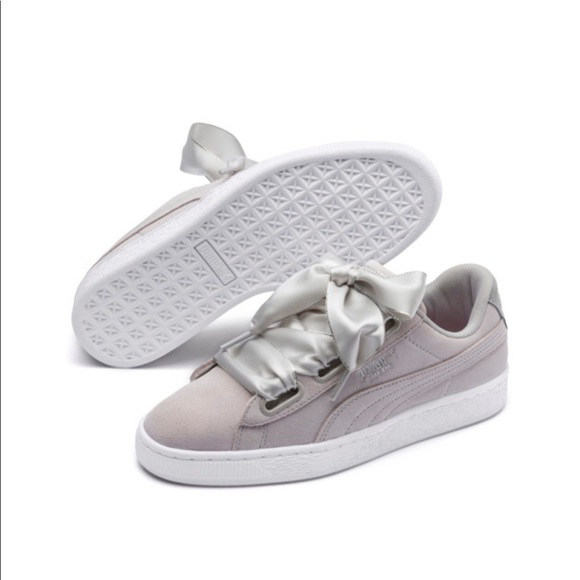 low priced d6fc9 a71cb PUMA - Grey Suede Ribbon Sneakers - 8.5